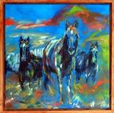 Blue horses.  40 x 40