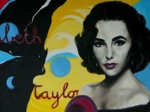 Elizabeth Taylor 80 x 60, acryl + olieverf