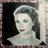 Grace Kelly  60 x 60   Olieverf + mixed media