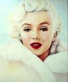 Marilyn Monroe, witte bontjas   50 x 60
