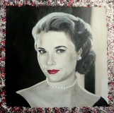 Grace Kelly 60 x 60 (olieverf + mixed media)