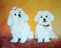 Hondjes in opdracht.  50 x 40
