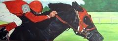 Jockey en Renpaard.  130 x 45