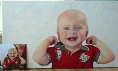 Portret geschilderd naar foto.