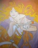 Vrouw met fiets (naar afb. A. Mucha) 70 x 90
